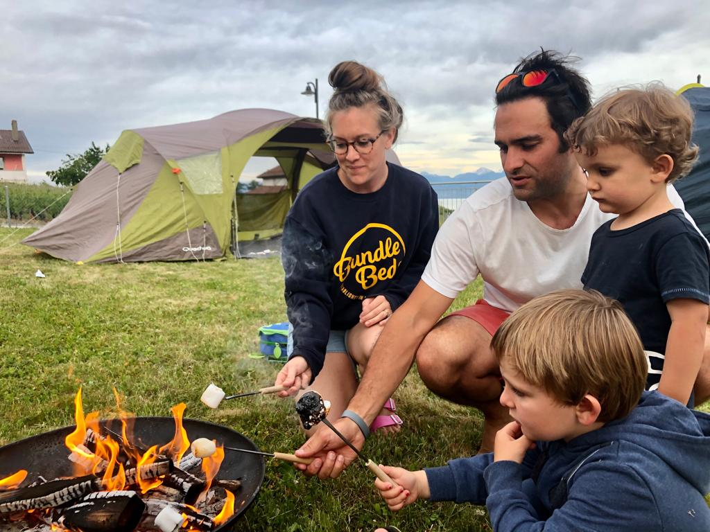 Bundle Beds founder camping with family
